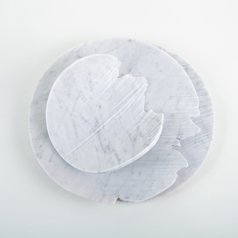 Monolith eroded marble tableware by Shira Keret
