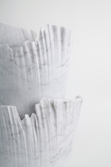 Monolith marble objects by Shira Keret