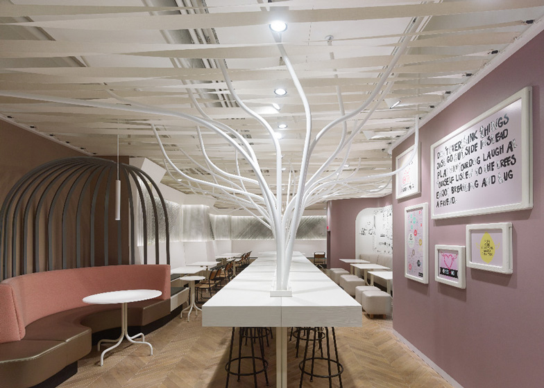 Ippolito Fleitz ippolito fleitz installs metal trees in food restaurant