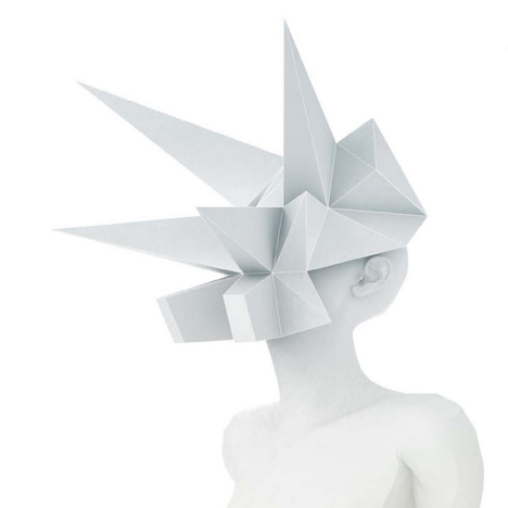 Masko spiky origami masks for shop window mannequins by 3Gatti Architecture Studio