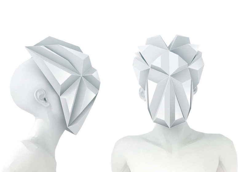Origami masks for mannequins by 3Gatti Architecture Studio