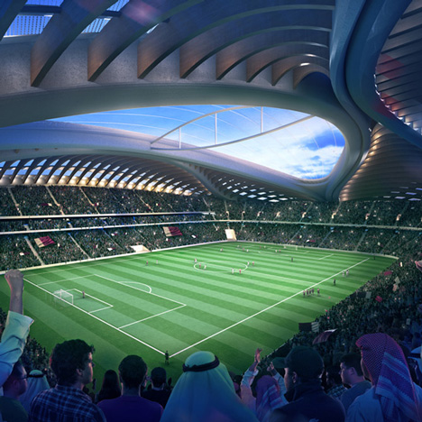 Zaha Hadid's yonic stadium for Qatar 2022 FIFA World Cup
