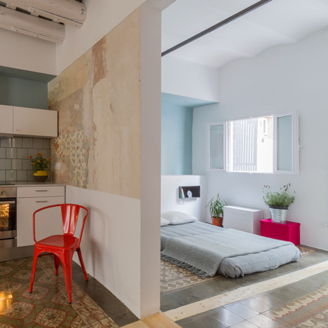 Nook's Barcelona apartment refurb removes walls but leaves original tiled floors intact