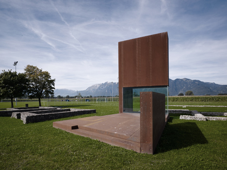 Rusty steel tower by Marte.Marte Architects frames Roman ruins in Austria