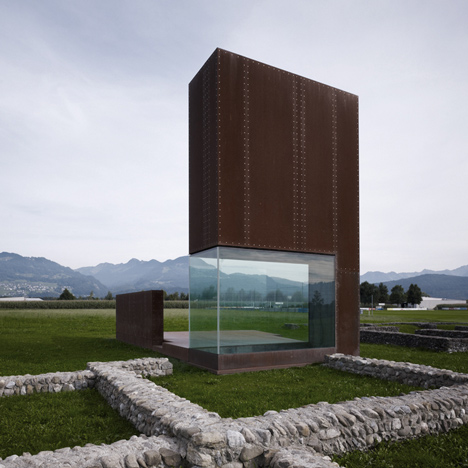 Rusty steel tower over Roman ruins by Marte.Marte Architects