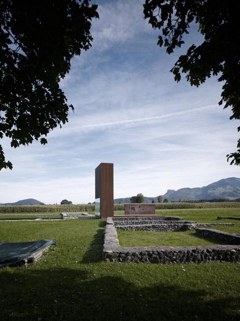 Rusty steel tower by Marte.Marte Architects frames Roman ruins in Austria