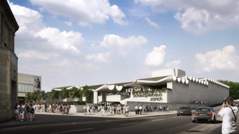 Schauspielhaus by Jørn Utzon for Zurich virtually constructed in realisticc renders by Virtual Design Unit