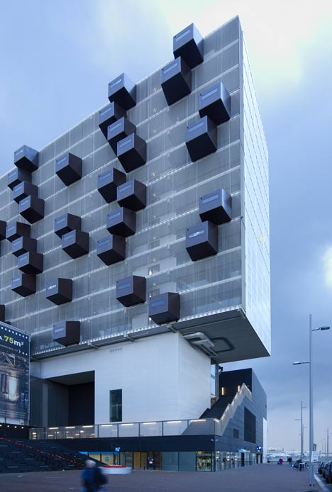 Schiecentrale 4b tower with protruding storage by Mei Architecten en Stedenbouwers
