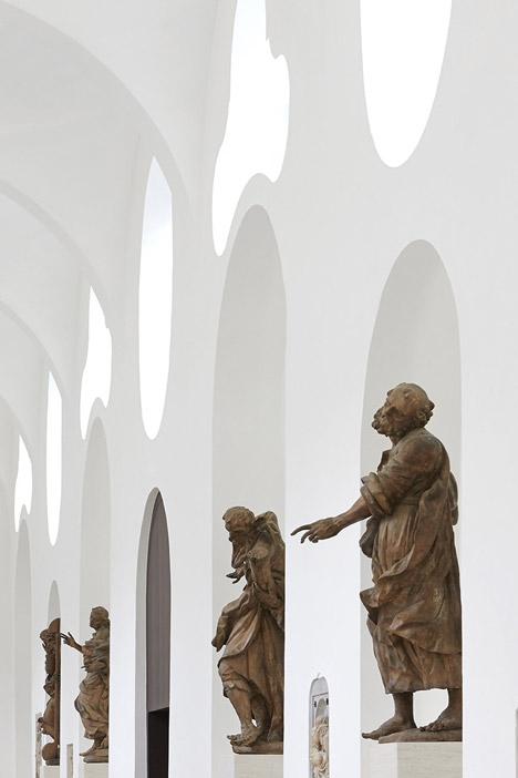John Pawson's minimal St Moritz Church photographed during a choir rehearsal