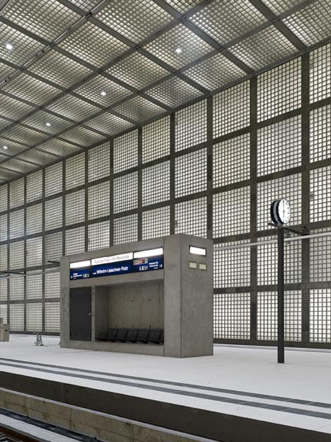Glowing glass blocks surround the Wilhelm-Leuschner-Platz S-Bahn station by Max Dudler