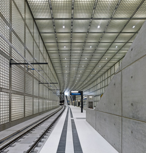 Glowing glass blocks surround the Wilhelm-Leuschner-Platz S-Bahn station by Max Dudler