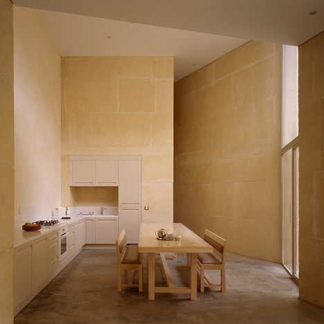 House made of solid stone in Lyon by Perraudin Architecture