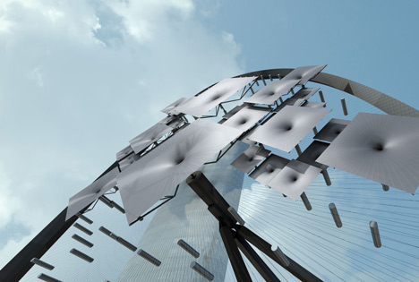 Visualisation of the Surya sunlight-responsive sculpture by REX