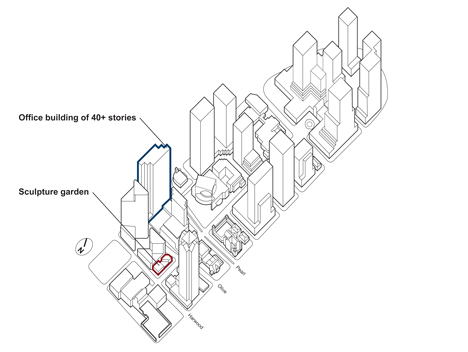 Axonometric of the neighbourhood outlining the plots