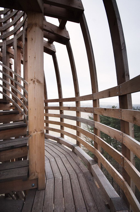 Timber observation tower shaped like a cucumber by Mjölk Architekti