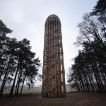 "Timber observation tower shaped like ""a cucumber"" by Mjölk Architekti"