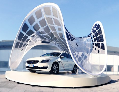Volvo Pure Tension Pavilion that charges an electric car by Synthesis Design + Architecture