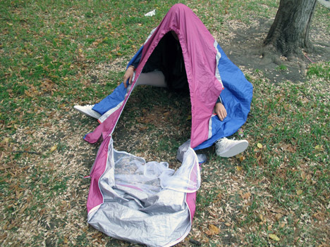 Walking Shelter tent stored in shoes by Sibling