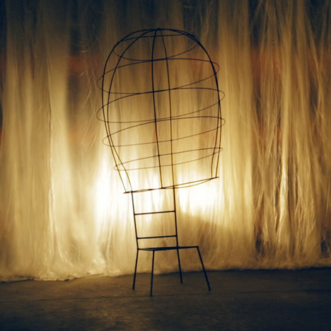 Wire frame of a chair by Nacho Carbonell