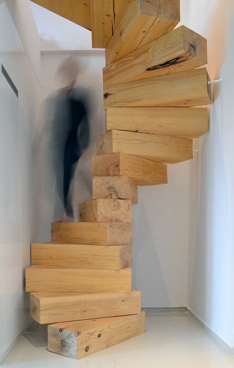 wooden staircase in split flat by qc - Wooden Stairs