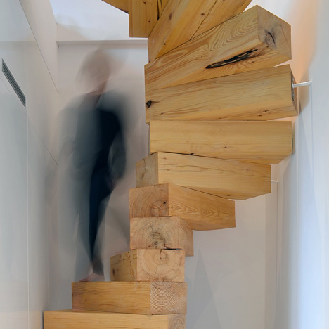 spiral staircase made from chunky wooden blocks by qc - Wooden Stairs