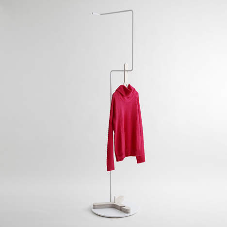 Clothes stand with Y-shaped coat hangers by Mifune Design Studio