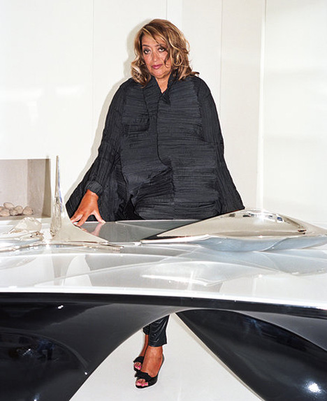 Zaha Hadid portrait wearing Elke Walter photograph by Tung Walsh