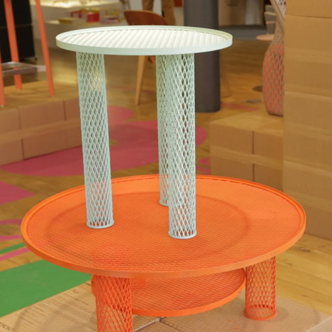 Net tables by Benjamin Hubert for Moroso on show at Aram Store, London