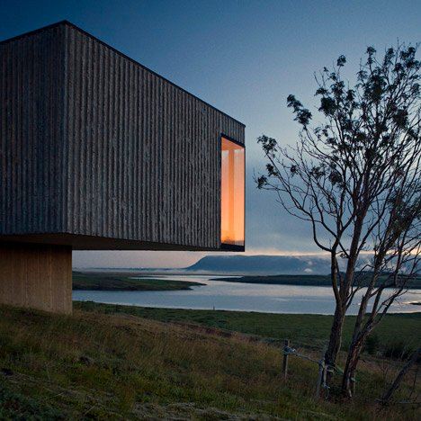 Árborg House by PK Arkitektar overlooks an Icelandic glacial valley