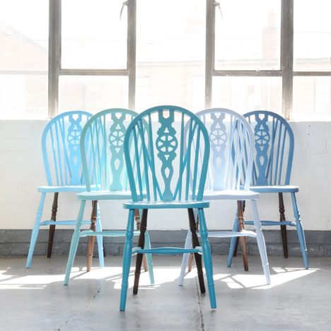Blue wooden chairs to be exhibited at Interiors UK 2014