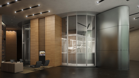 Car lift in Porsche Design Tower in Miami