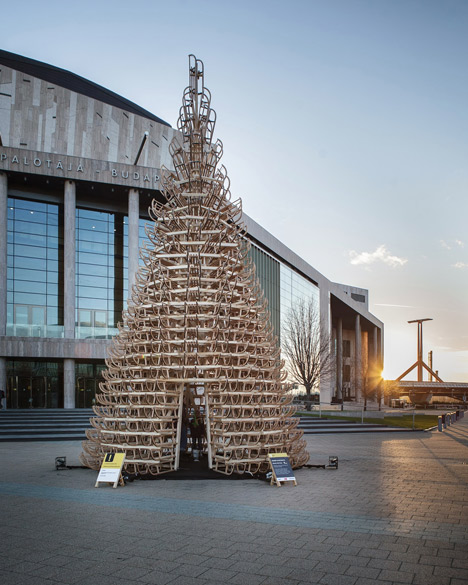 Christmas tree made from sledges that will be donated to children's charity