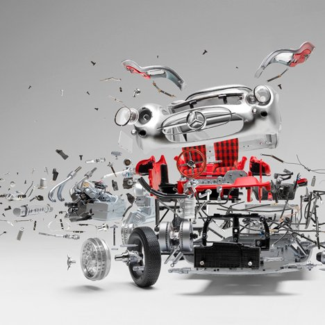 Detailed photos capture exploded sports cars
