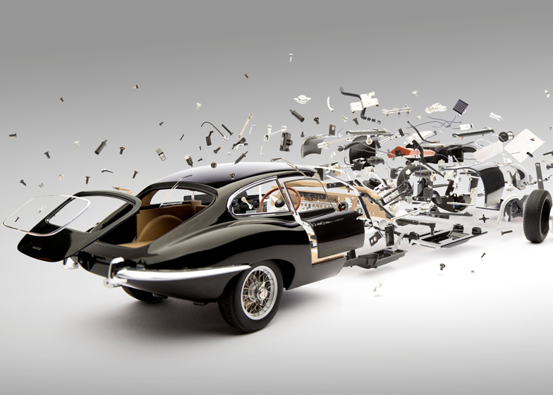 Jaguar E-Type (1961) image from the Disintegration series