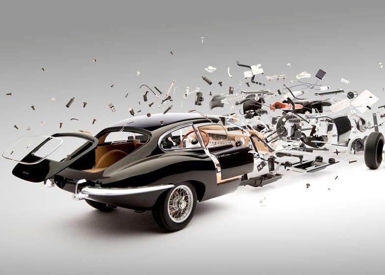 Jaguar E-Type (1961) image from the Disintegration series