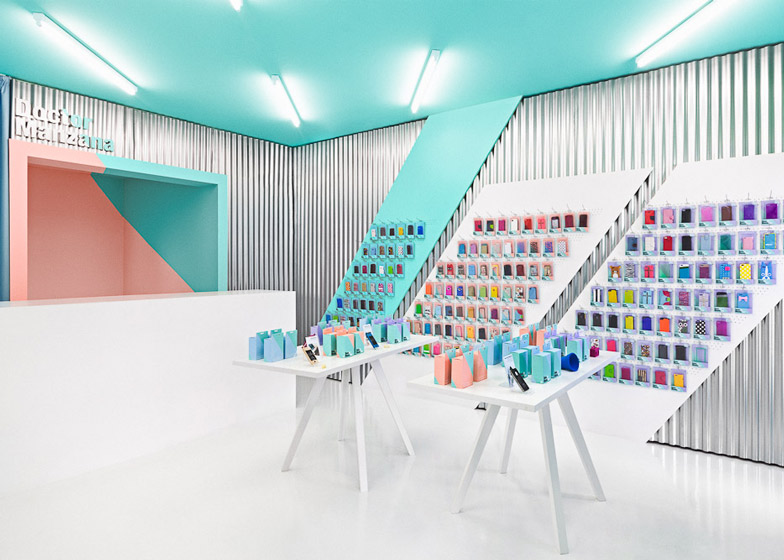 Doctor Manzana colourful gadget shop interior by Masquespacio