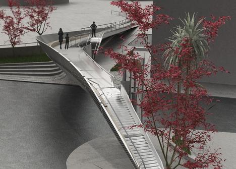 Footbridge in the Tasos Papadopoulos Avenue by Elina Pattichi