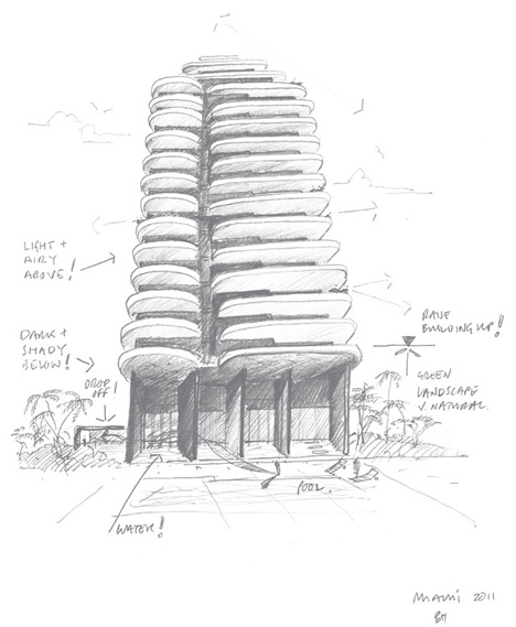 Faena House by Foster + Partners at Faena Miami Beach - sketch