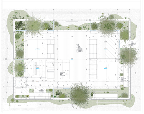 Floor plan of Green Edge House by mA-style Architects encases a perimeter garden behind its walls