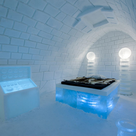 Hotel made of ice contains a Frankenstein-themed room by Pinpin Studio