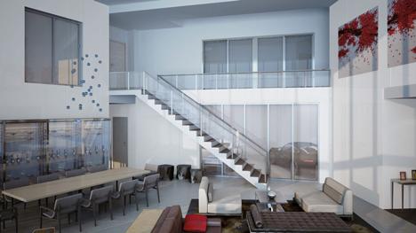 Living room at Porsche Design Tower in Miami