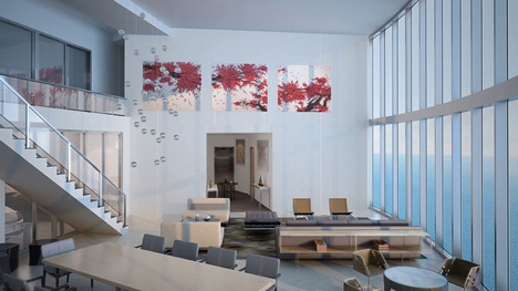 Living room at Porsche Design Tower in Miami