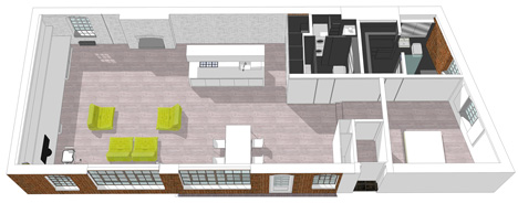 3D floor plan of London Warehouse Loft by Form Design Architecture