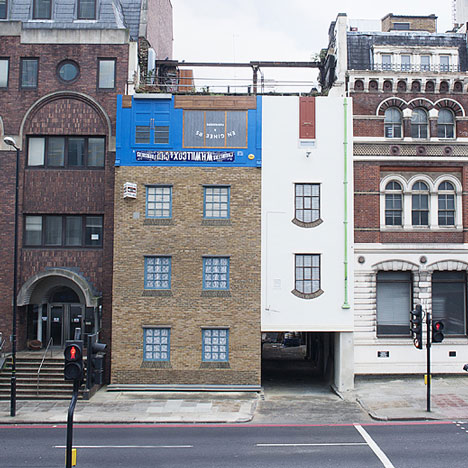London building turned upside down by Alex Chinneck