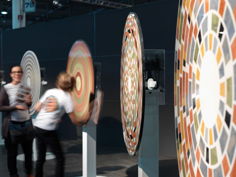 Optical illusions created by spinning marble disks by Raffaello Galiotto for Lithos Design