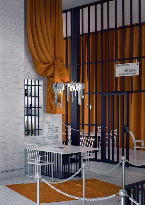 Poczekalnia restaurant imagined like a prison by Karina Wiciak
