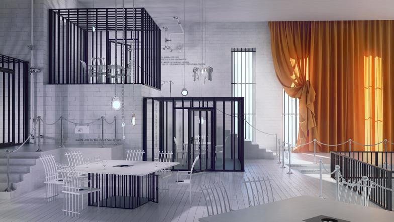 Poczekalnia restaurant imagined like a prison by Karina Wiciak_dezeen_ss_16x9