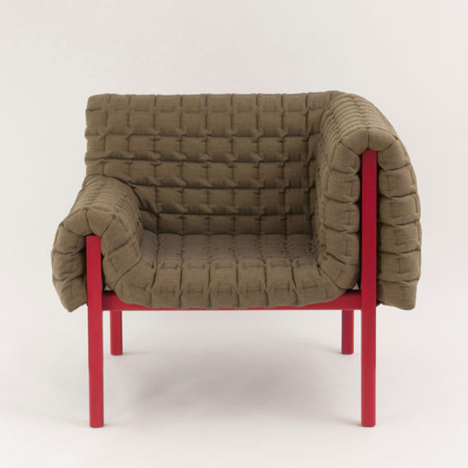 Inga Sempé unveils quilt-covered Ruché armchair for Ligne Roset