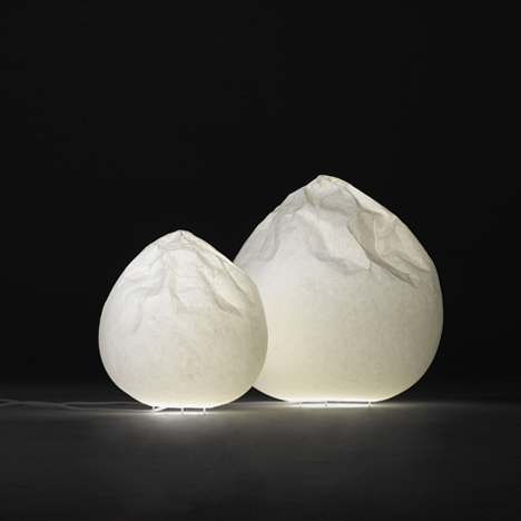Nendo adapts traditional Japanese paper-making to design crumpled lamps