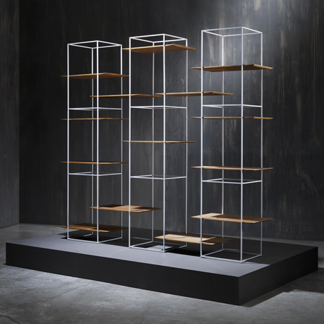 Ron Gilad designs shelves that seem to float in metal frames
